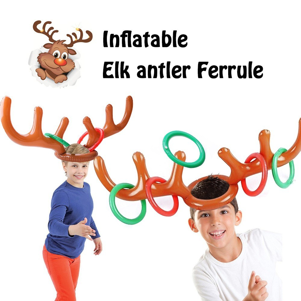 Inflatable Elk Antler Ferrule Reindeer Antler Ring Toss Game for Christmas Party Supplies Xmas Target Game Toy