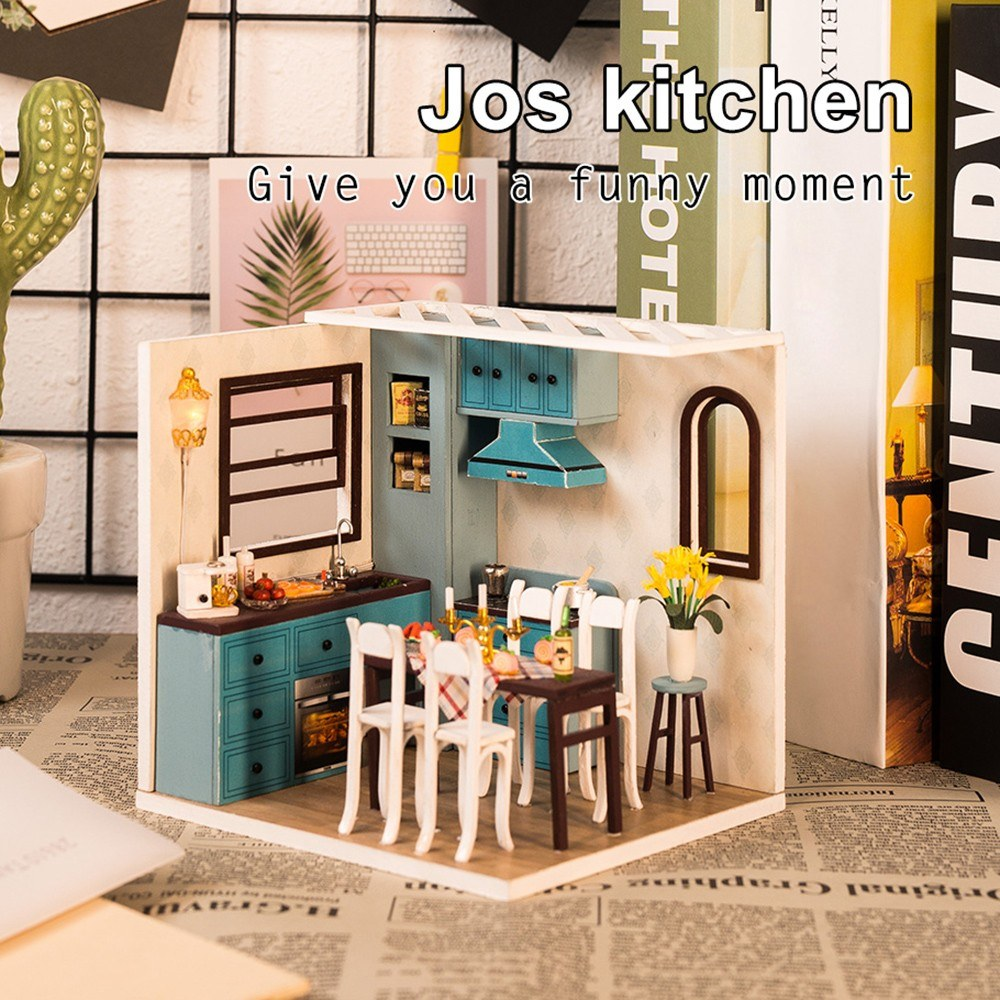 DIY Dollhouse Kit DIY Wooden Kitchen Miniature Kit Kids Gift Parent-child Toy with LED light Dust Proof Cover