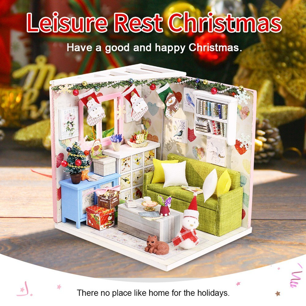 DIY Dollhouse Kit Wooden DIY Miniature Dollhouse Kit Kids Christmas Gift Parent-child Toy with LED light Dust Proof Cover
