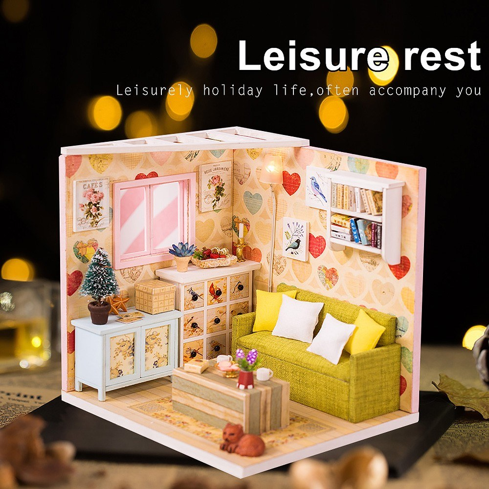 DIY Dollhouse Kit Wooden DIY Miniature Dollhouse Kit Toy Gift with LED light Dust Proof Cover