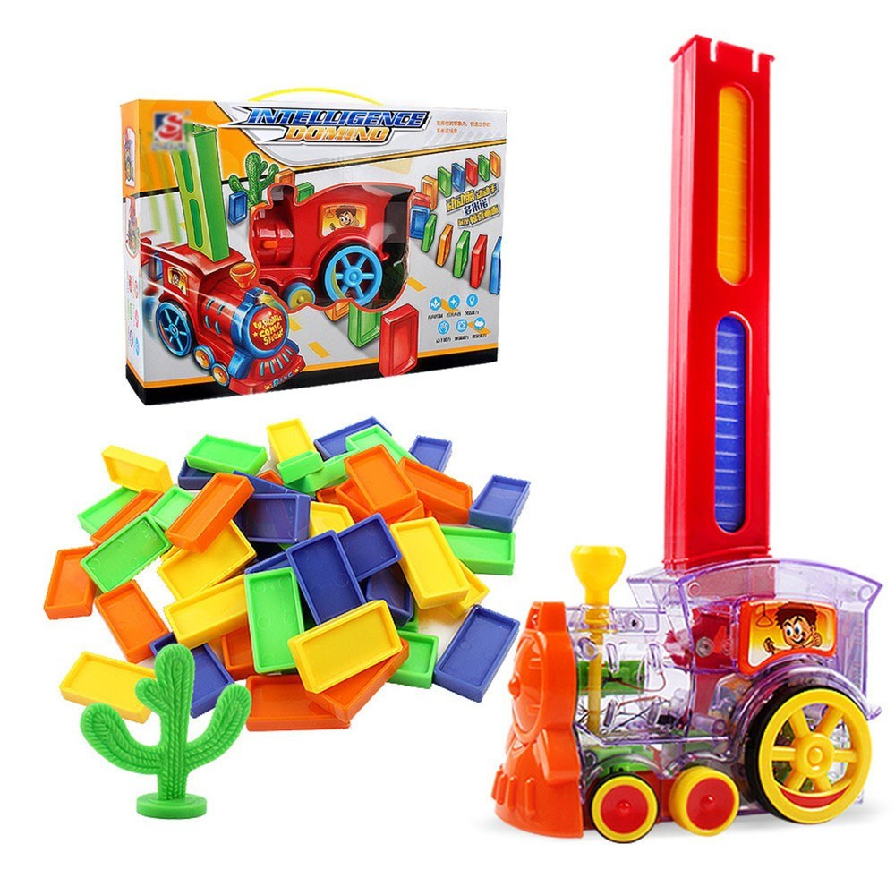 Electric Domino Train Toy Set with 60Pcs Colorful Dominoes Game Building Blocks Educational Boys Girls Children's Toys Gifts