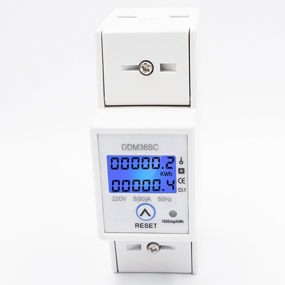 Din-rail Energy Meter LCD Backlight Digital Display Single Phase Electronic KWh Meter