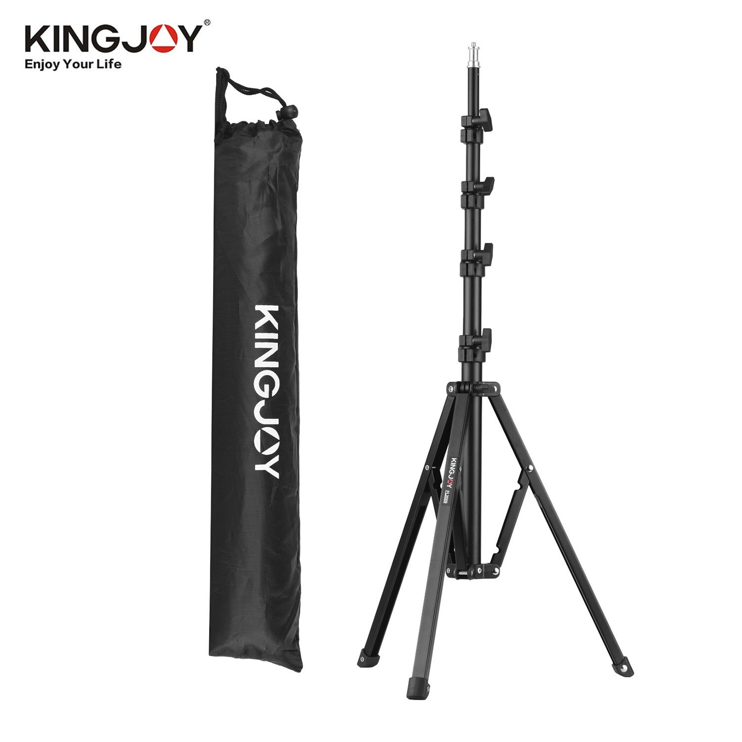 KINGJOY FL2009 Adjustable Metal Tripod Light Stand 10kg/22lbs Load Capacity 1/4 Inch Screw Max. Height 182cm/6ft with Carry Bag for Photography Studio Reflector Softbox LED Video Light Umbrella