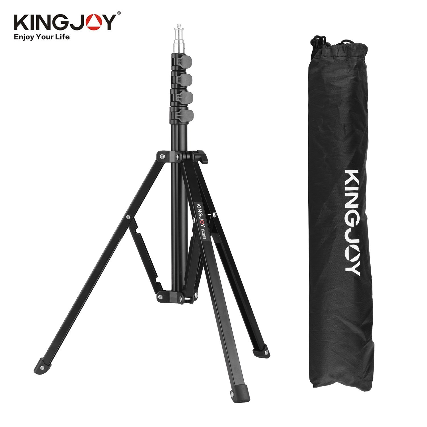 KINGJOY FL2019 Adjustable Metal Tripod Light Stand 8kg/17.6lbs Load Capacity 1/4 Inch Screw Max. Height 180cm/5.9ft with Carry Bag for Photography Studio Reflector Softbox LED Video Light Umbrella