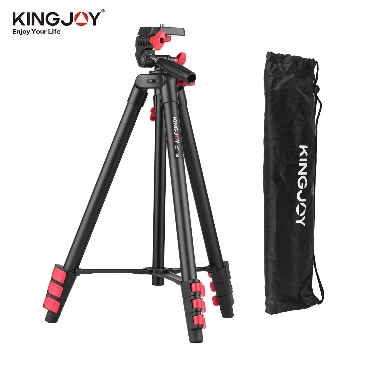 KINGJOY VT-832 Portable Photography Tripod Stand Aluminum Alloy 2kg Load Capacity 1/4 Inch Screw Connector Max. Height 131cm Middle Axis with Carry Bag Black