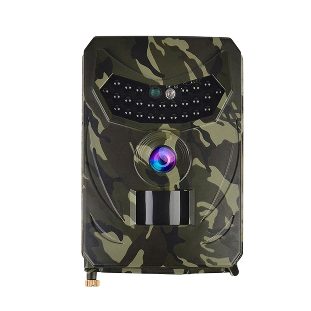 PR-100 Outdoor Hunt-ing Trial Camera Scouting Video Camera Adopted Sensitive PIR Infrared Sensor 1080P VGA AA Batter-y Operated USB Cable IP56 Water Resistance for Sport Cycling Army Green