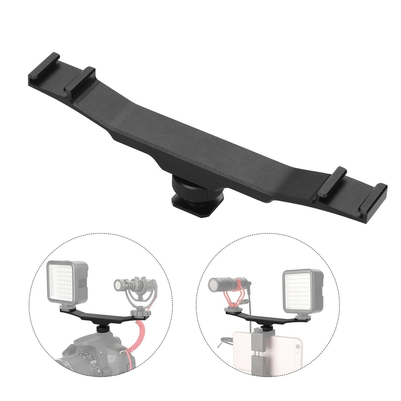 Double Cold Shoe Mount Extension Bar Dual Bracket for DV DSLR Camera Smartphone Mic LED Light