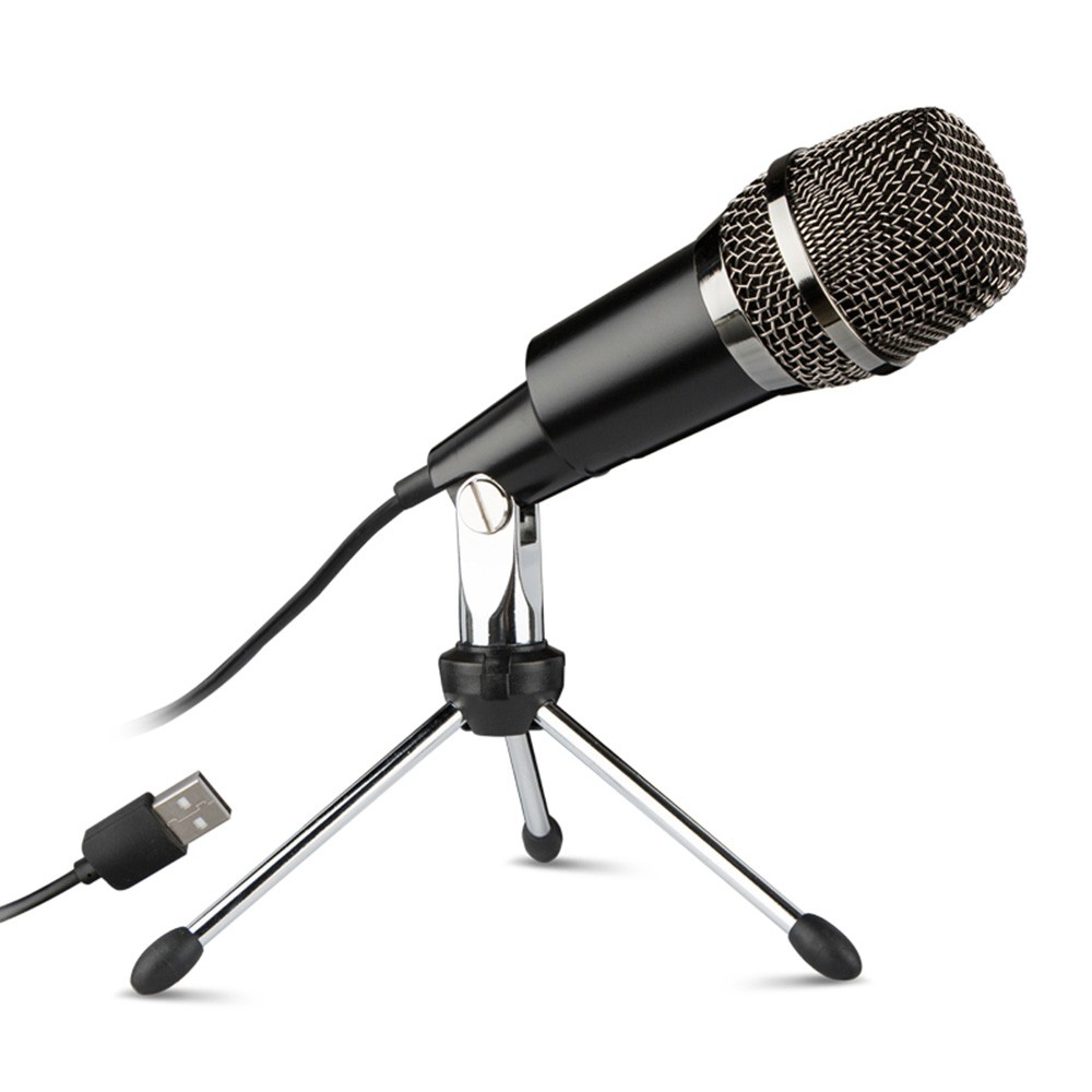 USB Home Vocal Recording Microphones Desktop Mini Metal Tripod Stand for for Laptop PC Recording Online Chatting Singing Podcast
