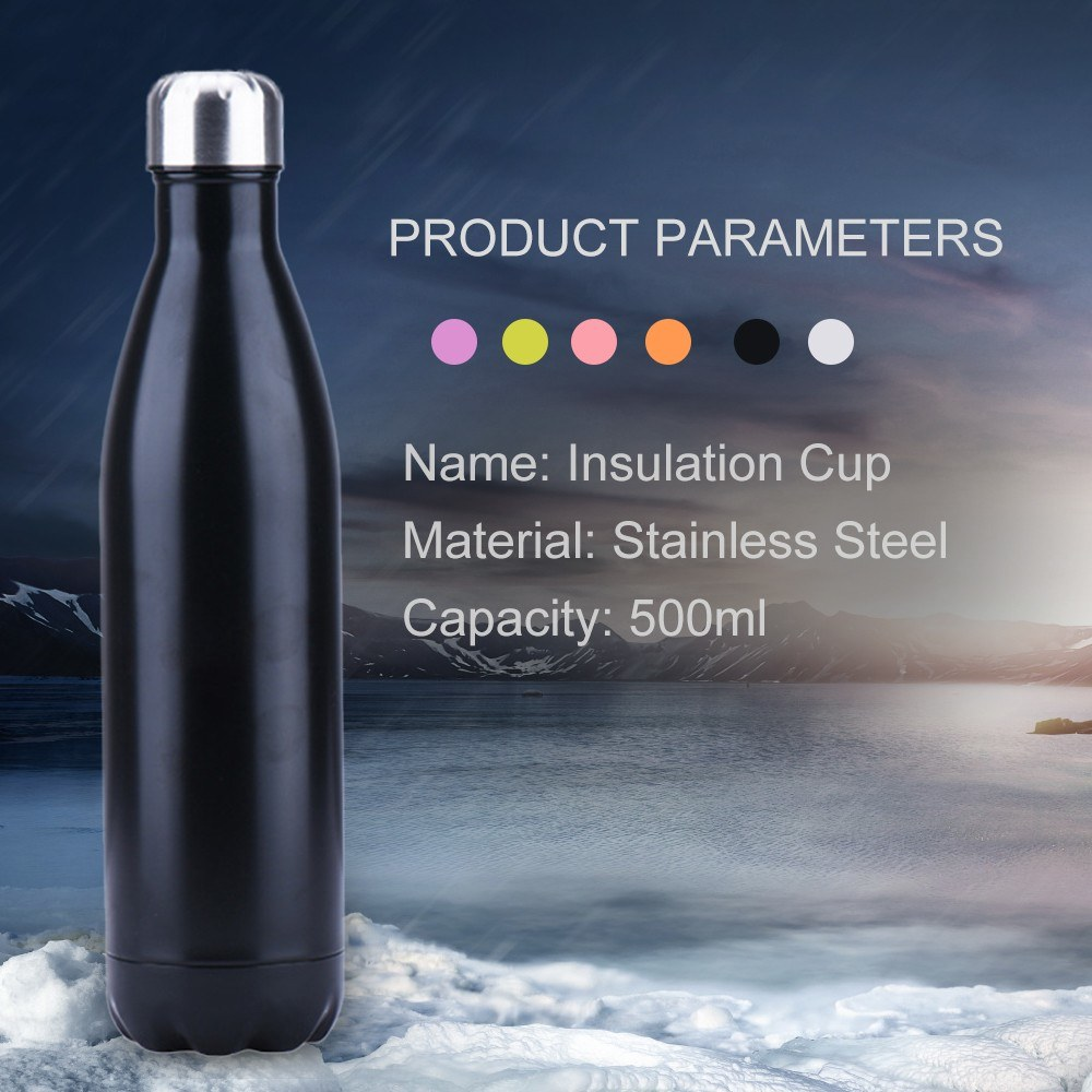 Water Bottle Stainless Steel 500ml Insulated Cup Vacuum Insulated Water Bottle Bright Exterior Keeps Cold Hot for Long Time