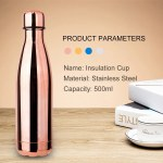 Water Bottle Stainless Steel 500ml Vacuum Insulated Water Bottle Electroplate Insulated Cup Keeps Cold Hot for Long Time