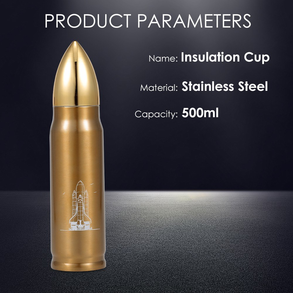 Water Bottle Stainless Steel 500ml Vacuum Insulated Water Bottle Bullet Shape Travel Cup Keep Warm