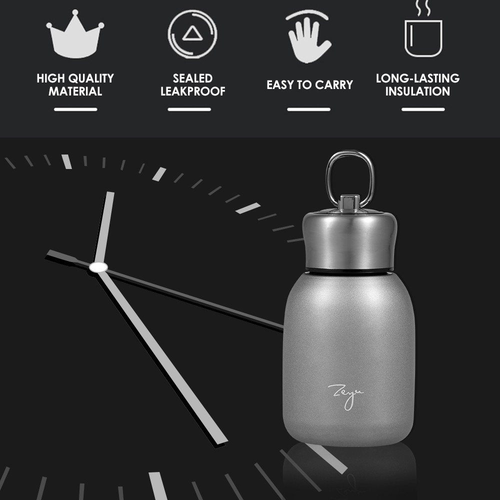 Water Bottle Stainless Steel Matte 300ml Vacuum Insulated Small Water Bottle for Kid Lid with Hook