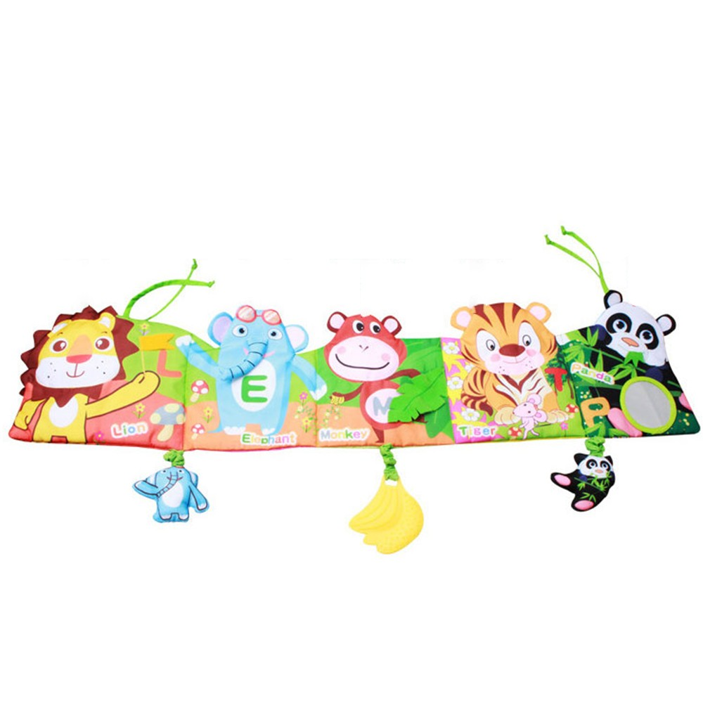Crib Bumper Panel & Cloth Book in one With Rattle Teether Crib Around Liner Pad Educationl Toy Baby Room Decor Lion