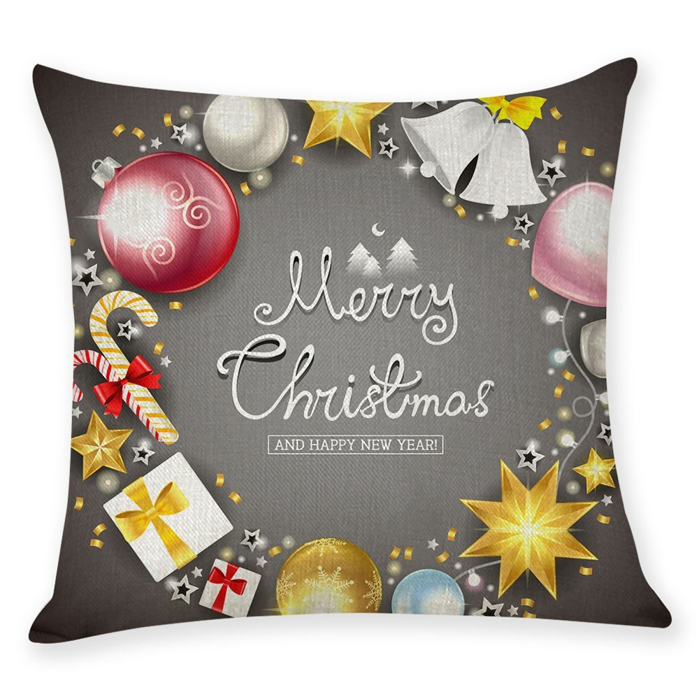 Pillow Cover Christmas Tree Cartoon Sofa Cushion Case Protector 45x45CM Without Core