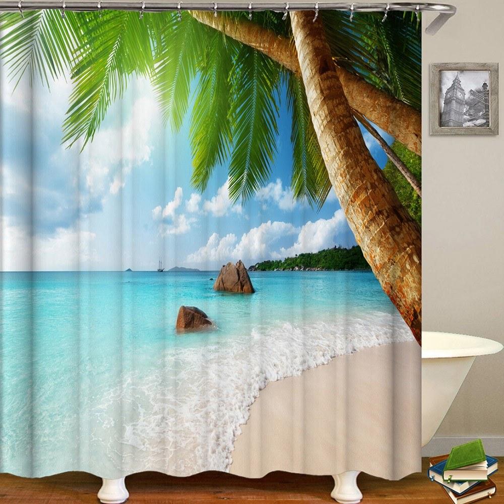 Shower Curtain Seaside Scenery Printed Blackout Curtains Waterproof Mildew-proof Bathroom Curtain 71
