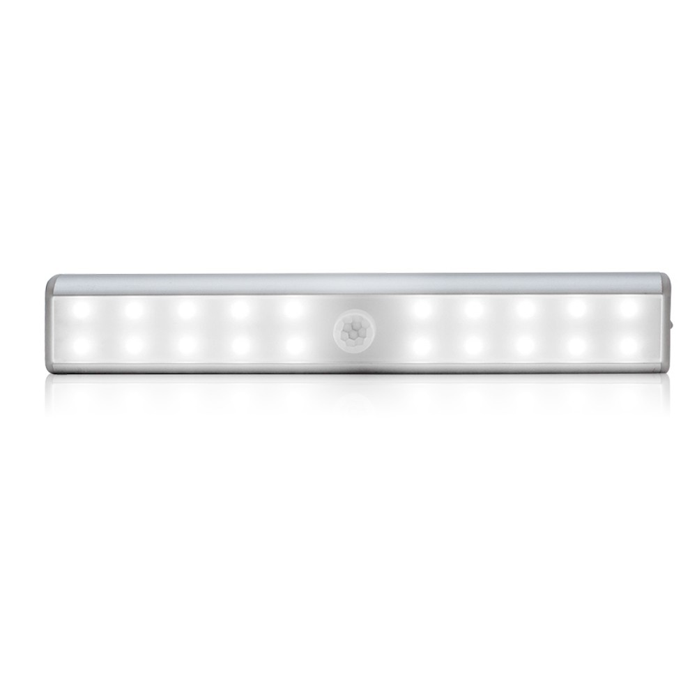 Cabinet Lights Motion Sensor Lights USB Rechargeable 20 LED Cabinet Lighting Magnetic Removable Stick-On Lamp for Closet Wardrobe Drawer Cupboard Pure White Light