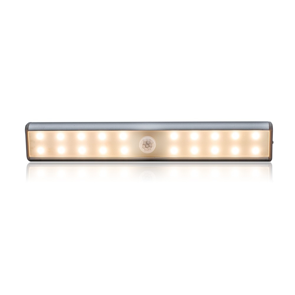 Cabinet Lights Motion Sensor Lights USB Rechargeable 20 LED Cabinet Lighting Magnetic Removable Stick-On Lamp for Closet Wardrobe Drawer Cupboard Warm White Light