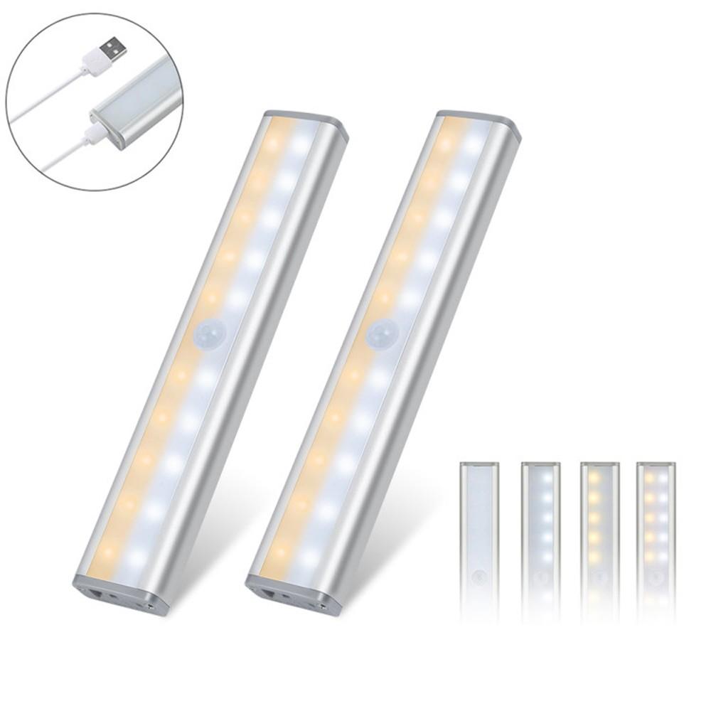 2PCS Cabinet Lights Motion Sensor Lights USB Rechargeable 20 LED Cabinet Lighting Magnetic Removable Stick-On for Closet Wardrobe Drawer Cupboard Warm White Light