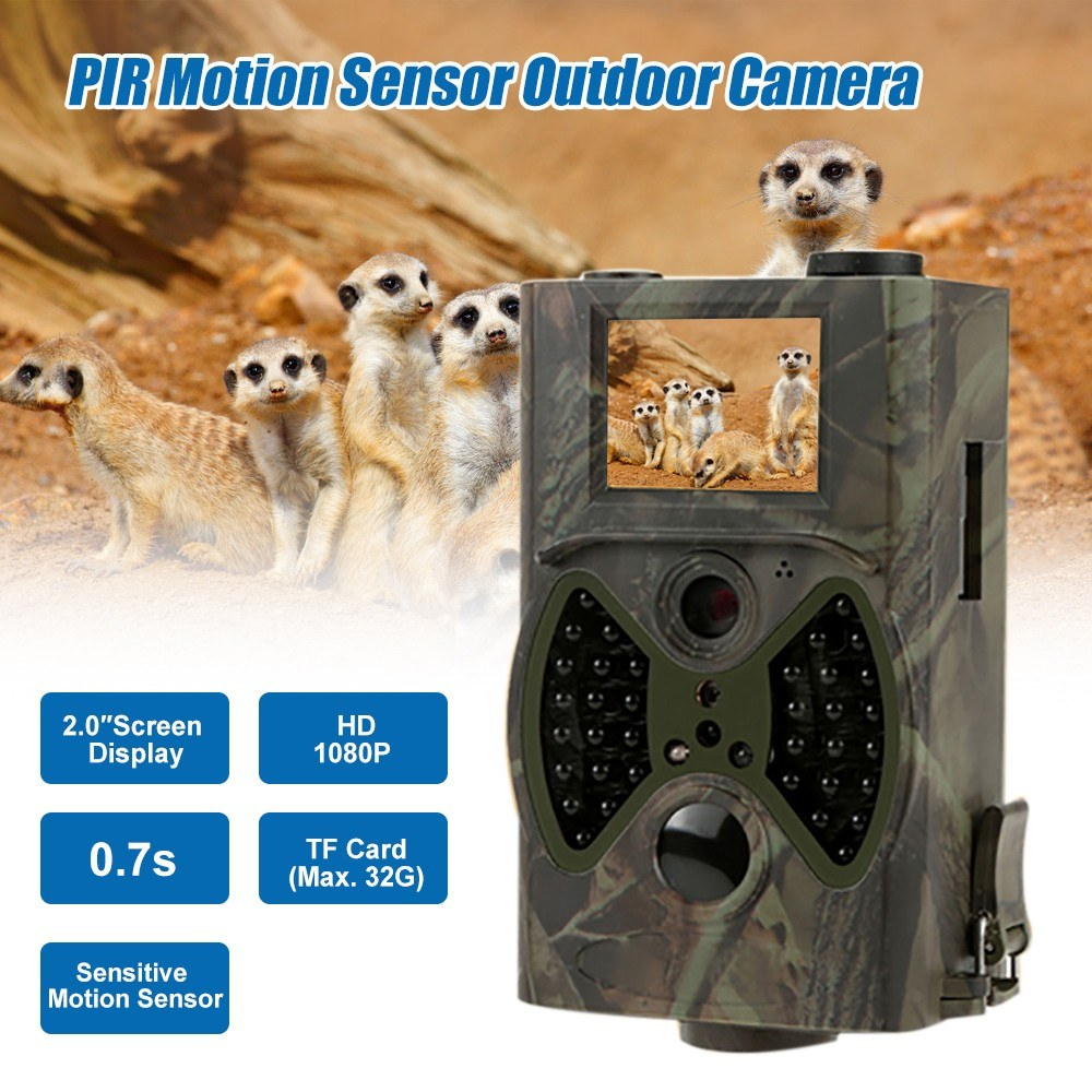 """HC300A Outdoor  2.0"""" LEDs Screen Hunt-ing Trial Camera with Remote Control Scouting Video Camera Adopted Sensitive PIR Infrared Sensor 1080P VGA AA Batter-y Operated USB Cable IP54 Water Resistance for Sport Cycling"""