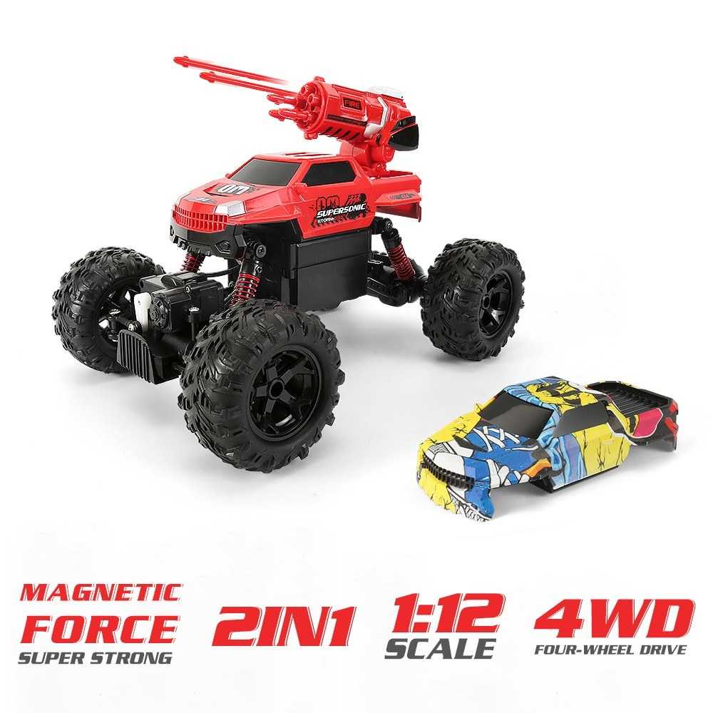 1/12 RC Car 4WD Toy Cars 2 in 1 Desert Buggy Car Off Road RC Car 2.4GHz High Speed RC Car All Terrain Vehicles Truggy Electric Climbing Car for Kids