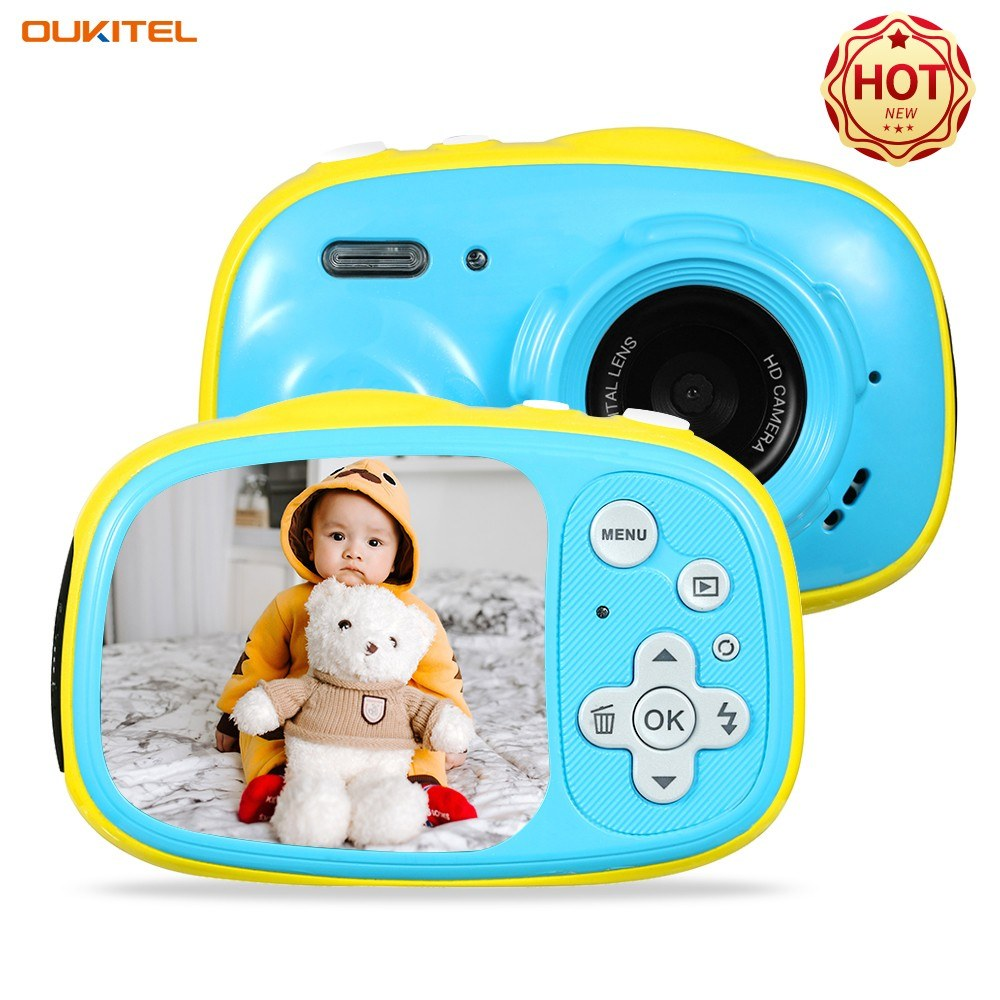 OUKITEL Q1 Mini Kids Digital Camera 5MP 2.0 Inch IPS Display 3 Meters IP68 Waterproof Built-in Rechargeable Battery with 8GB Memory Card Birthday Festival Gift for Children Boys Girls