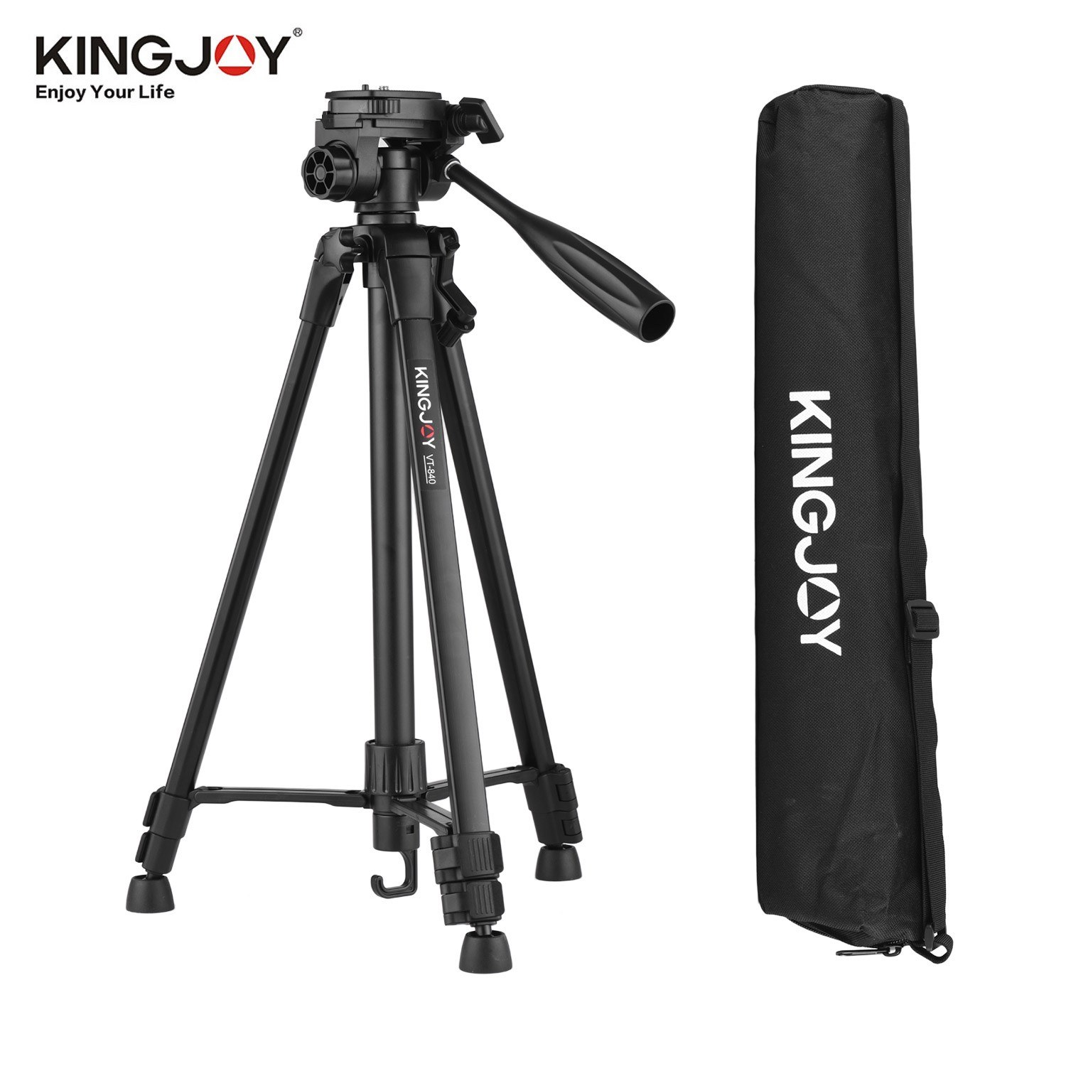 KINGJOY VT-840 Portable Photography Tripod Stand Aluminum Alloy 2kg/4.4lbs Load Capacity Max. Height 140.5cm with Quick Release Plate Middle Axis Carry Bag Black