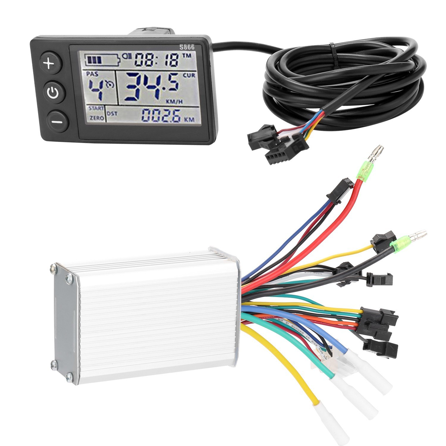 Electric Bike Controller 24V-48V/36V-60V 350W Brushless E-bike Controller with LCD Display Bicycles Motor Scooter Controller S866