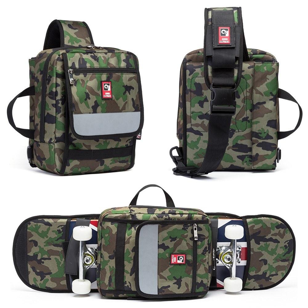 Multi-functional Skateboard Longboard Carry Bag Outdoor Sport Folding Sling Pack Handbag Shoulder Bag