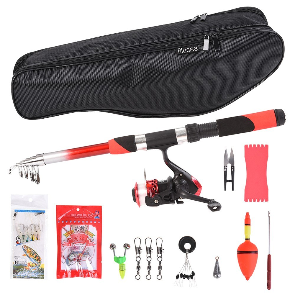 Fishing Reel Rod Combo Telescopic Fishing Rod and Spinning Reel Set Baits Hooks Fishing Bag Kit Fishing Tackle Set