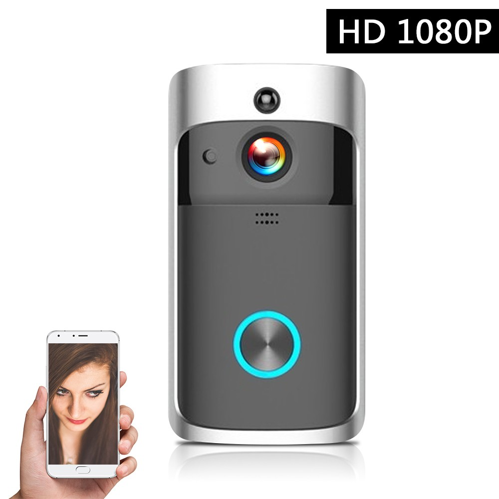 Smart HD 1080P Wireless Video Intercom WI-FI Video Door Phone Visual Door Bell WIFI Doorbell Camera for Apartments IR Alarm Wireless Security Camera with Batteries Silver