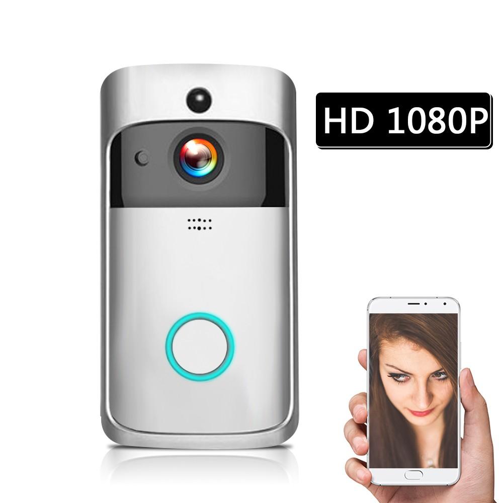 Smart HD 1080P Wireless Video Intercom WI-FI Video Door Phone Visual Door Bell WIFI Doorbell Camera for Apartments IR Alarm Wireless Security Camera Silver