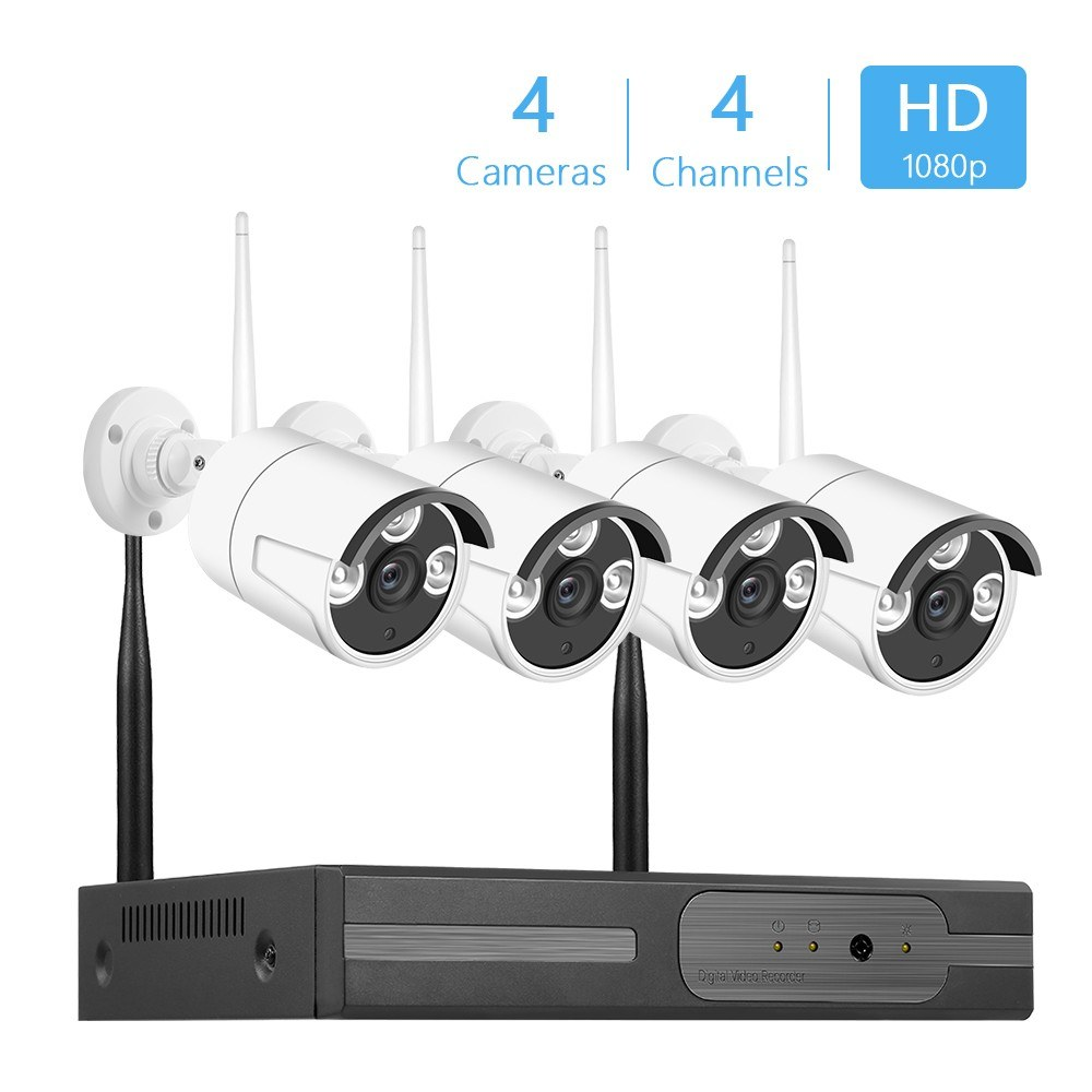 Wireless P2P NVR Kit 4Channel Network Video Recorder + 4pcs 2.0MP Waterproof Bullet IP Cameras Support Night Vision Support Multiple Recording and Playback Modes UK Plug