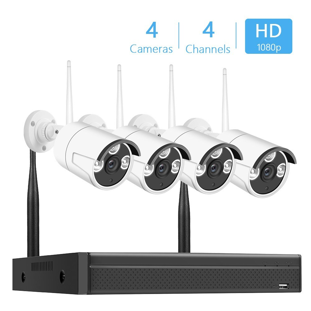 Wireless NVR Kit 4Channel Network Video Recorder + 4pcs 2.0MP 1080P IP Cameras Support Remote Control  UK Plug