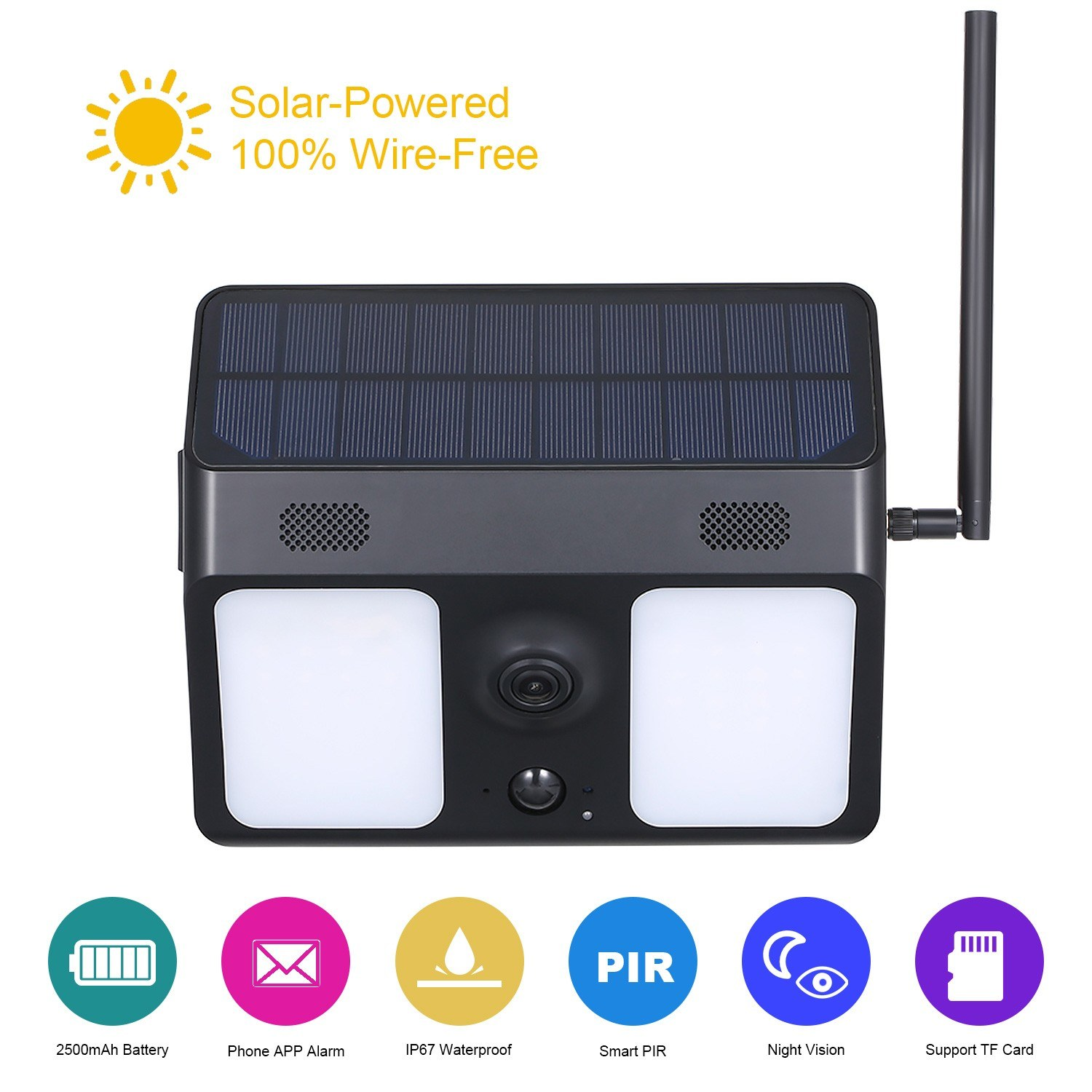 IP67 Waterproof Solar Powered Bat-tery Security Camera 1080P Motion Sensor Wall Light Surveillance Camera for Garden Patio Yard Courtyard Path
