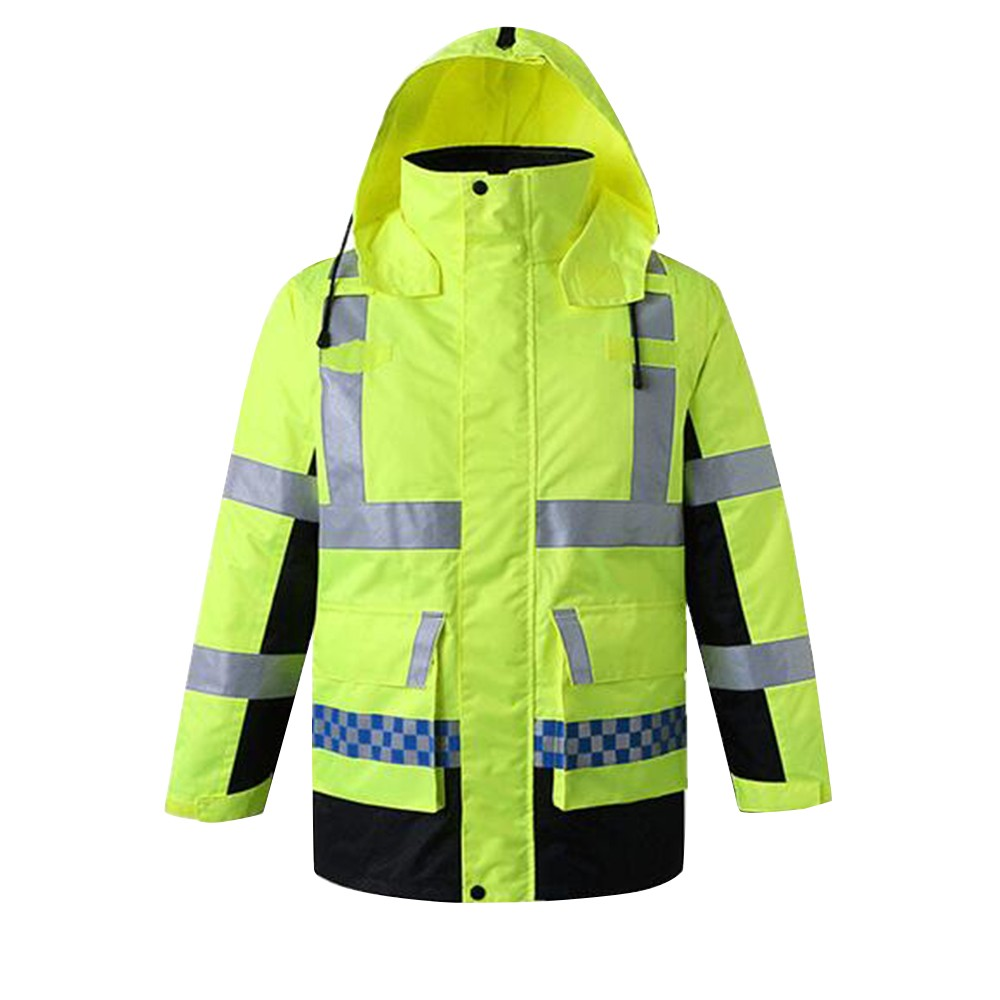 Safety Rain Jacket with Detachable Down Jacket Hood Waterproof Reflective High Visibility Safety Raincoat Traffic Jacket for Winter Yellow Size M