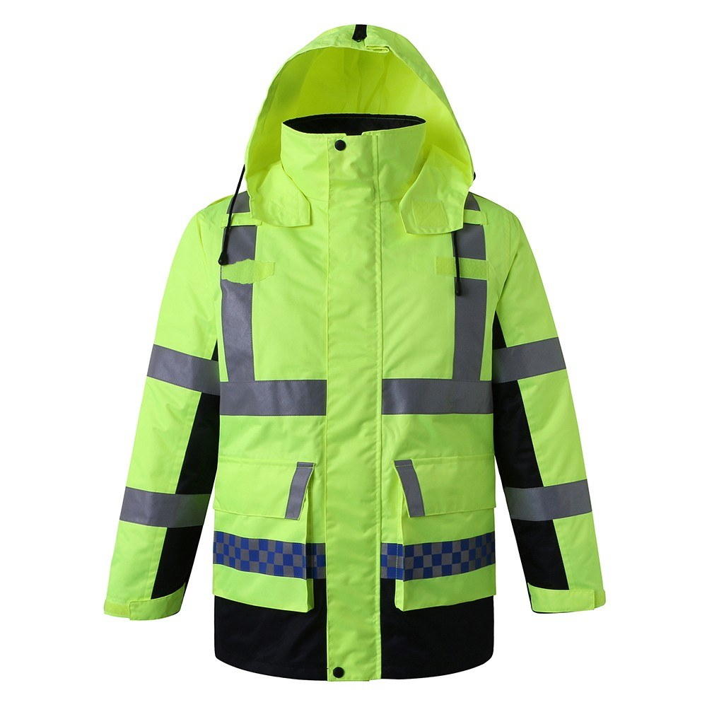 Safety Rain Jacket with Detachable Quilted Jacket Hood Waterproof Reflective High Visibility Safety Raincoat Traffic Jacket for Winter Yellow Size M