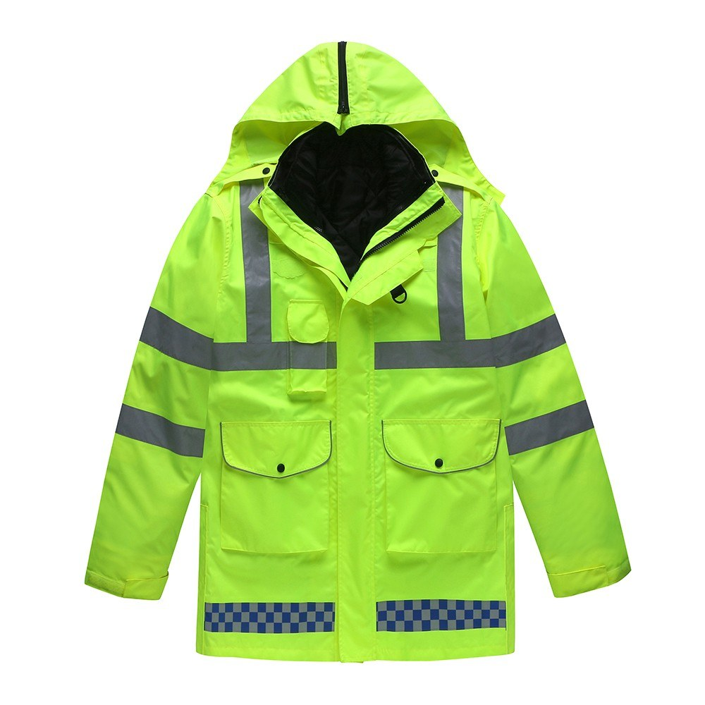 5-In-1 Safety Rain Jacket High Visibility Waterproof Reflective Raincoat with Cotton Coat Detachable Hood Adjustable Safety Raincoat Traffic Jacket for Adult Yellow Size 4XL