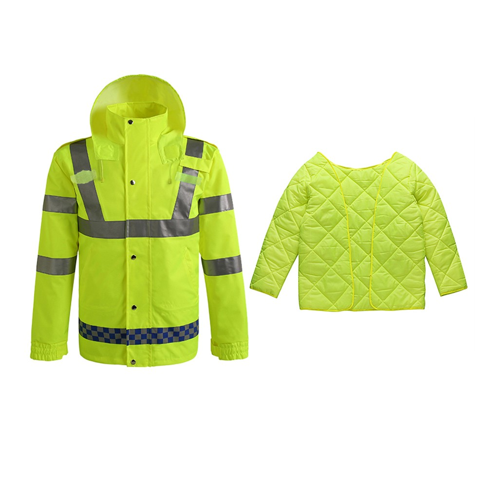 Safety Rain Jacket with Quilted Jacket Waterproof Reflective High Visibility with Detachable Hood Safety Raincoat Traffic Jacket for Adult Yellow Size M