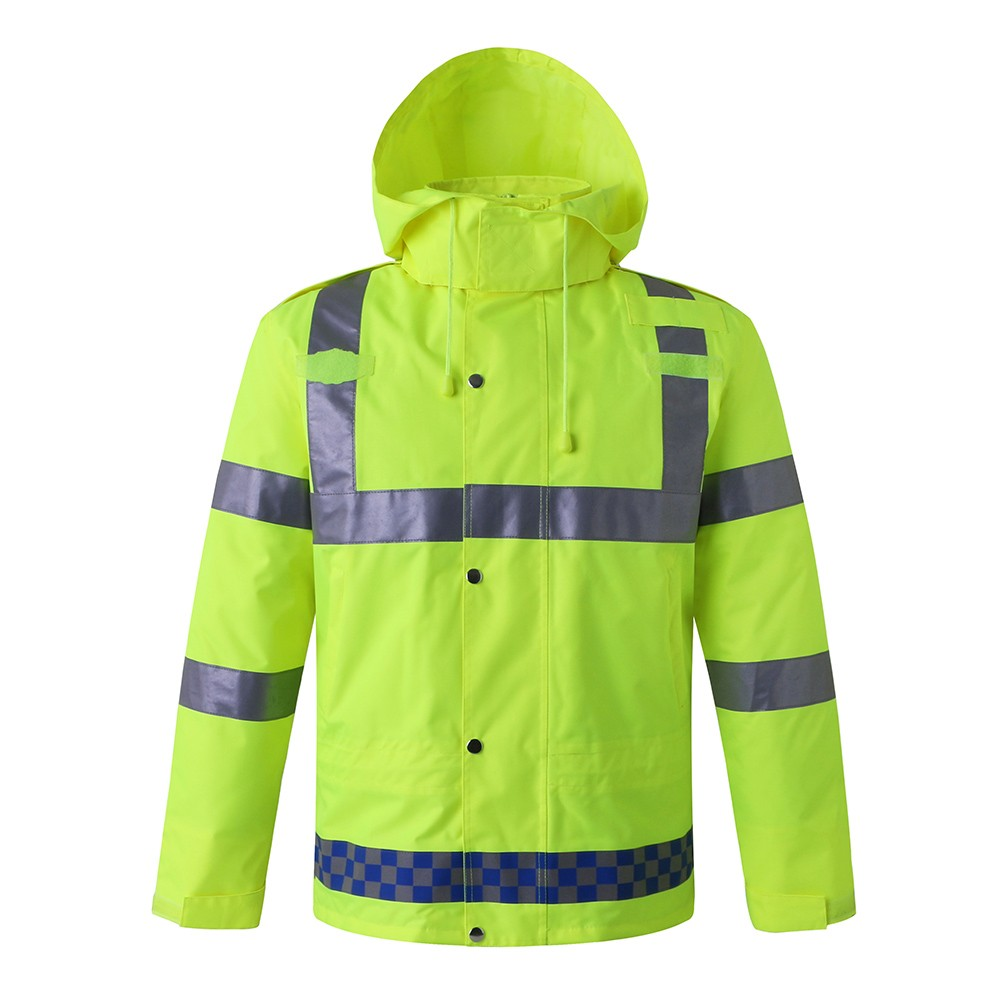 Safety Rain Jacket Waterproof Reflective High Visibility with Detachable Hood Safety Raincoat Traffic Jacket for Adult Yellow Size M