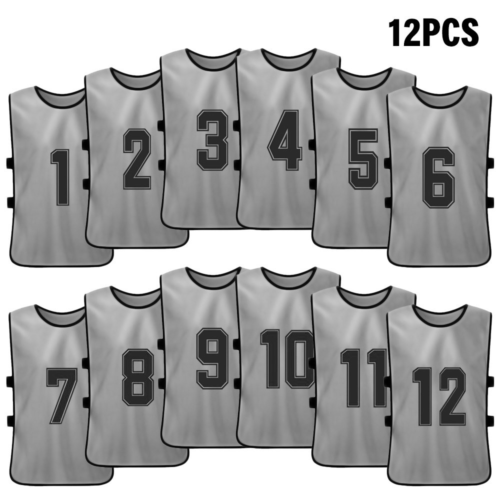12 PCS Kid's Football Pinnies Quick Drying Soccer Jerseys Youth Sports Scrimmage Basketball Team Training Numbered Bibs Practice Sports Vest