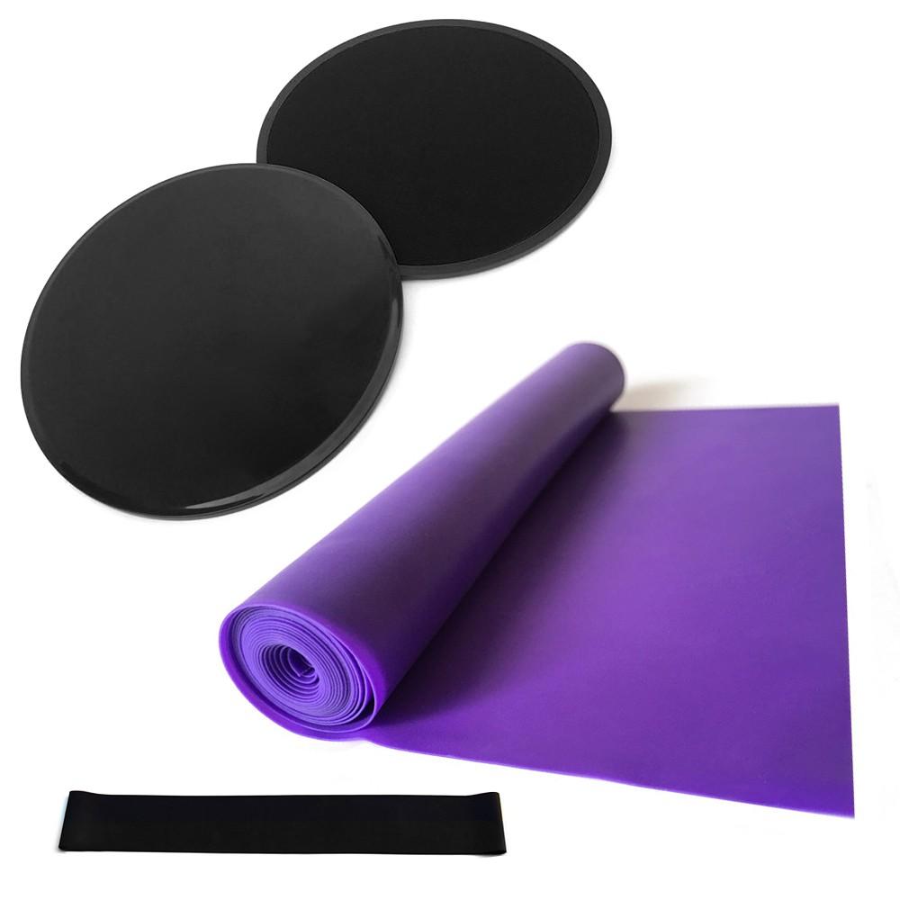 4pcs Yoga Equipment Set Discs Core Sliders Resistance Loop Band Exercise Latex Strap Perfect Abdominal Core Training Gym Yoga Pilates Rehab Kit