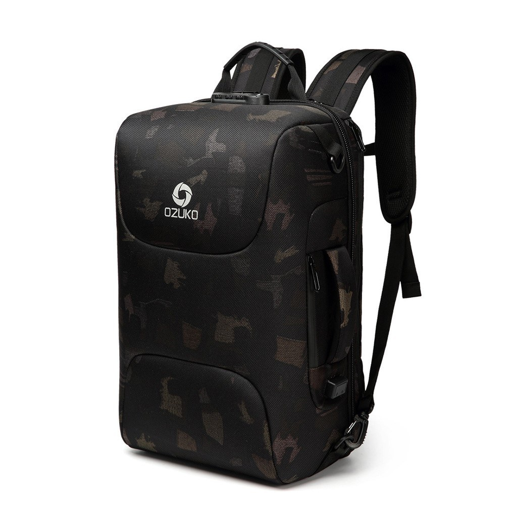 OZUKO Portable Outdoor Large Capacity Multi-Function Man Backpack USB Business Laptop Waterproof Anti-Theft Travel Backpack