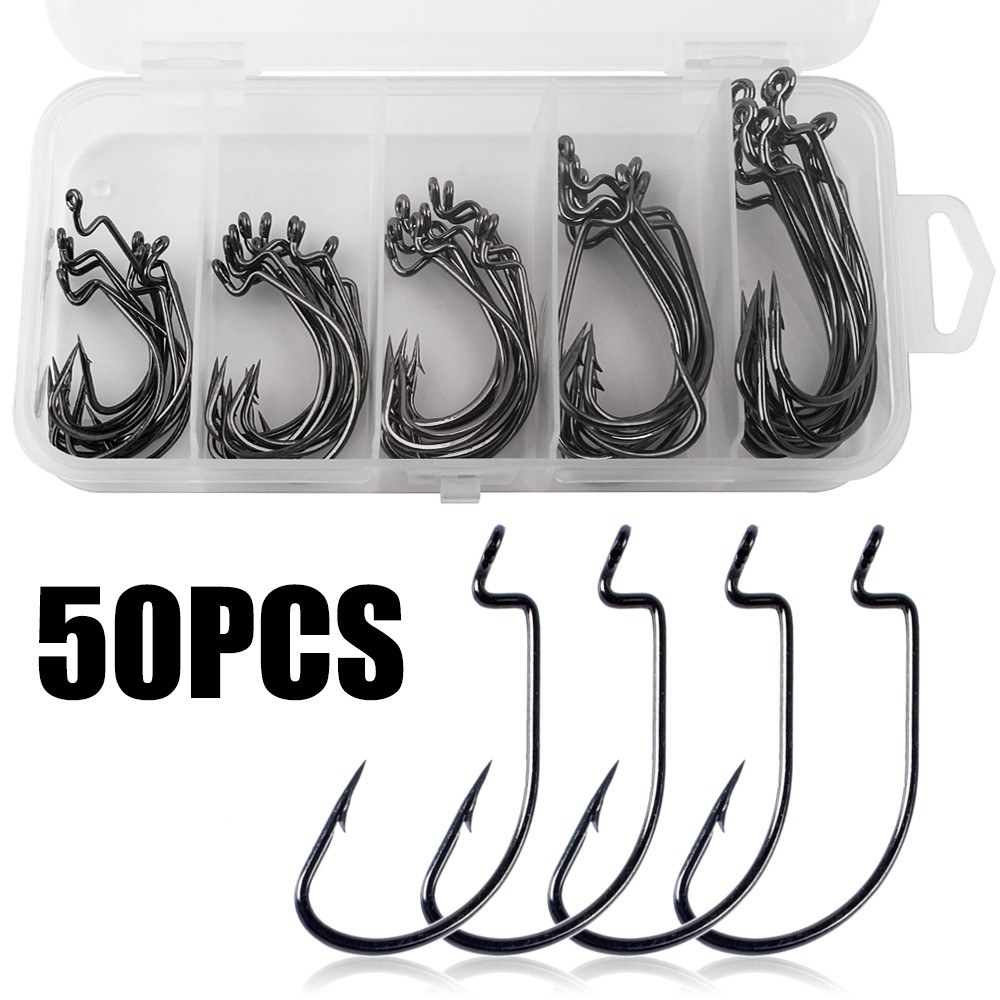 50pcs Fishing Hooks Worm Soft Bait Fish Hooks with Plastic Box