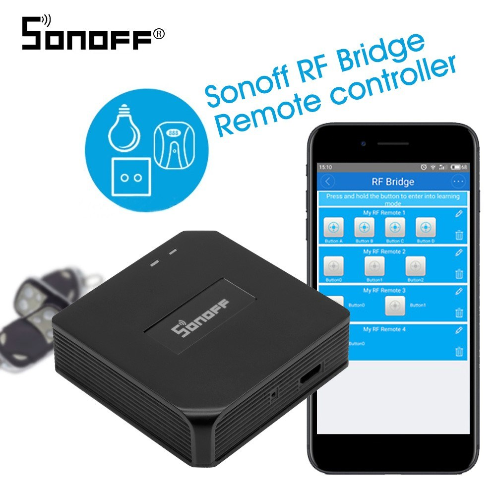 Sonoff RF Bridge 433MHZ Wifi Wireless Intelligent Wi-Fi Remote RF Controller Automation Module Switch For Smart Home Security Compatible with Alexa Google Home