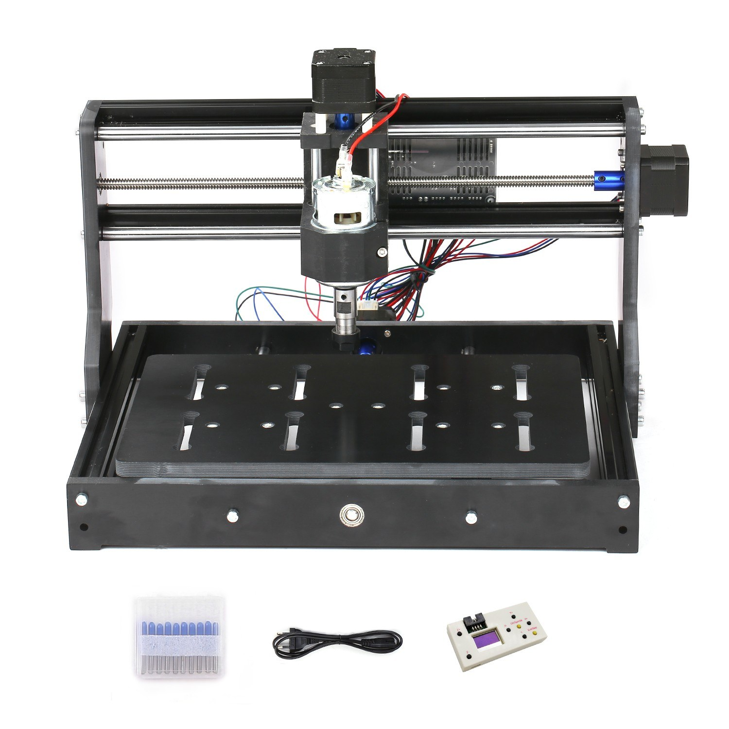 CNC3020 Mini DIY CNC Router Kit Power Milling Machine GRBL Control Laser Engraver Engraving Machine with 300x200x45mm Large Working Area ER11 Spindle Chuck 10Pcs Drill Bits Offline Controller
