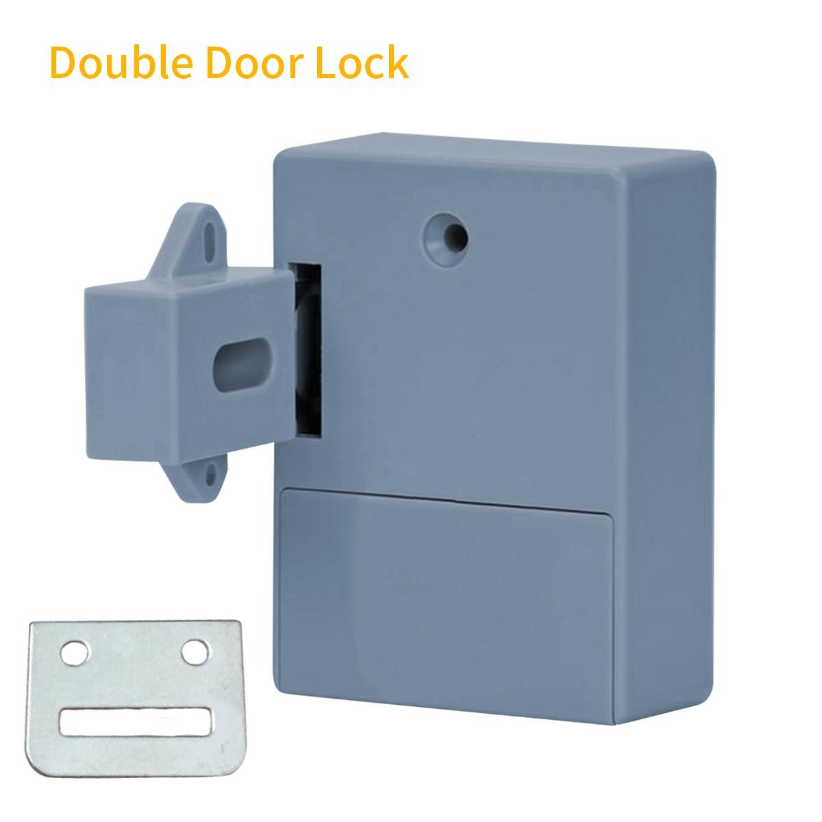 Smart Sensor Cabinet Lock Adhesive Hidden Drawer Lock Shoe Cabinet Wardrobe Bathroom Inductive Digital Lock for Double-opening Door Grey T3