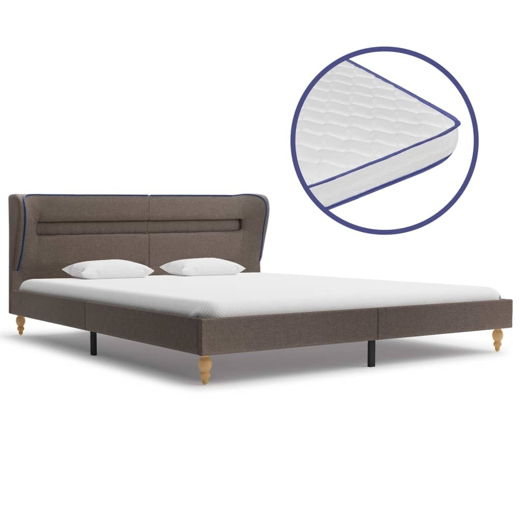 LED bed with memory mattress Taupe Tissue 180x200 cm