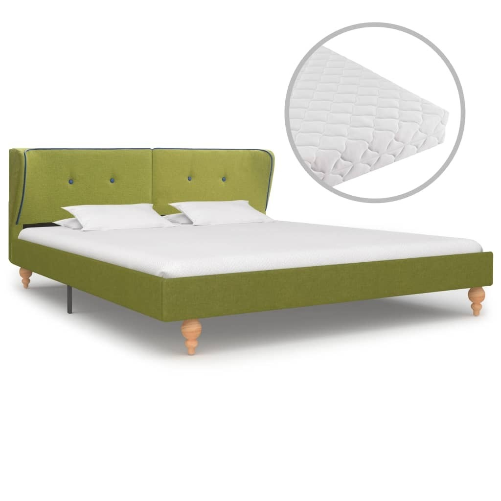 Bed with green fabric mattress 180 x 200 cm