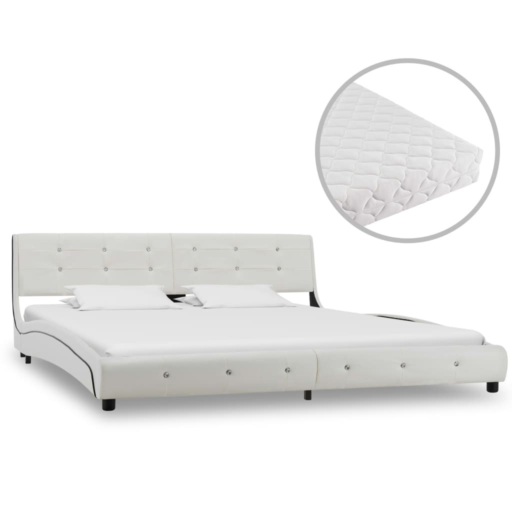 Bed with White Leatherette Mattress 180x200 cm
