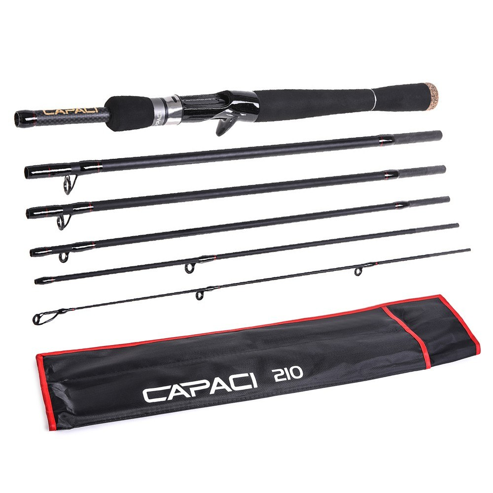 2.1m / 2.4m 6 Sections Carbon Spinning Casting Fishing Rod Lure Fishing Rod Hand Pole Fishing Tackle
